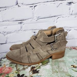 House of Harlow Tan Suede Strappy Ankle Boots